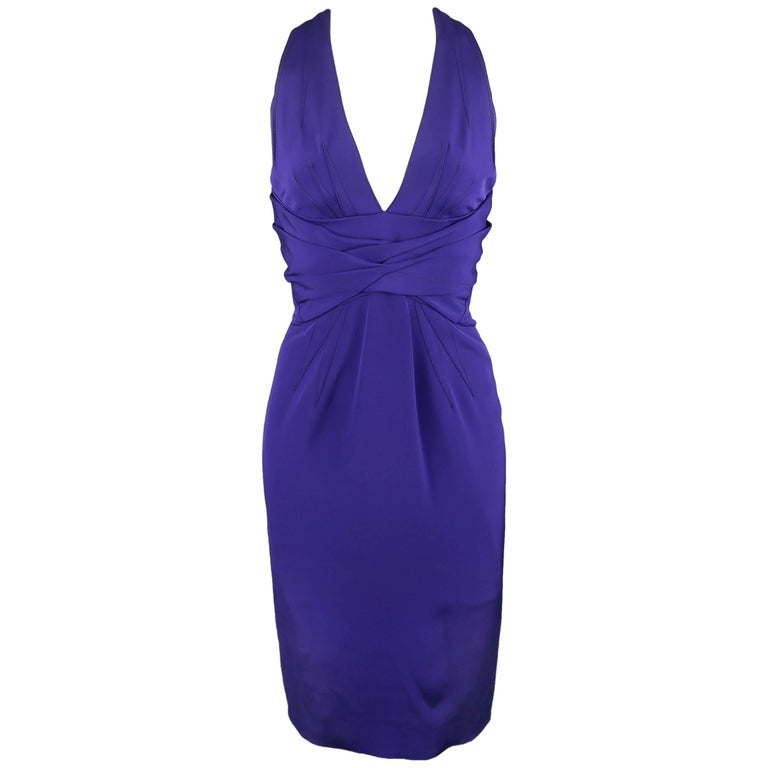 ZAC POSEN Size 2 Purple Stretch Silk Darted Halter Top Cocktail Dress