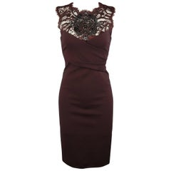 EMILIO PUCCI Size 6 Burgundy Rhinestone Lace Cocktail Dress