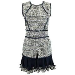 OSCAR DE LA RENTA 0 Navy & White Boucle Drop Waist Ruffle Skirt Cocktail Dress