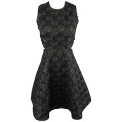 ALEXIS Size XS Black Lace Open Back Flair Skirt Cocktail Dress