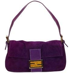 Fendi Purple Suede Baguette Bag