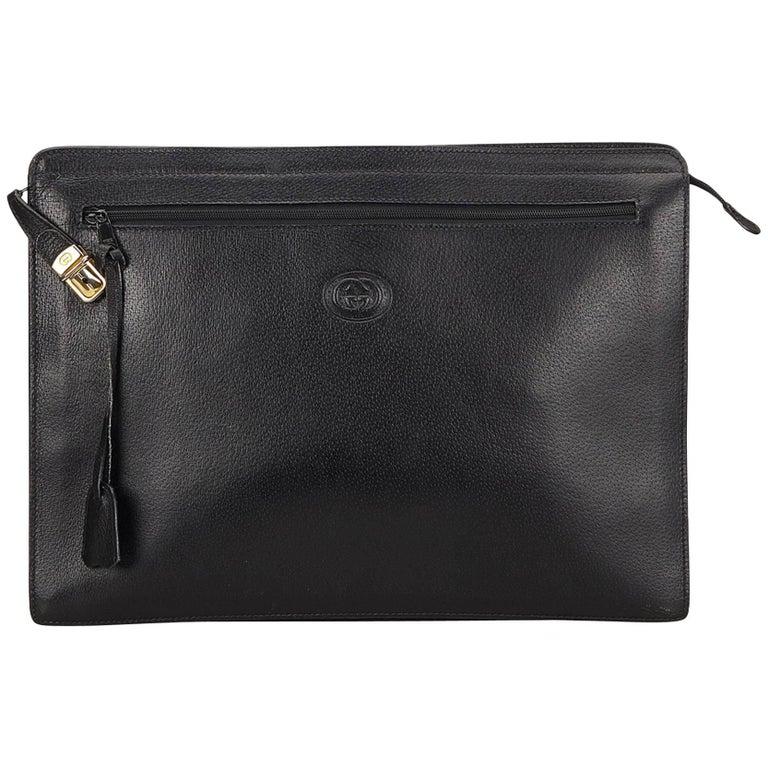 Gucci Black Leather Clutch Bag