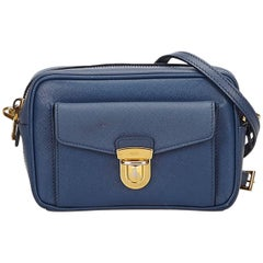 Prada Blue Leather Saffiano Camera Bag