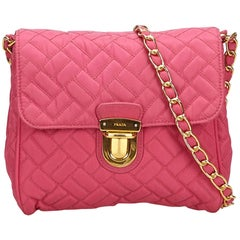 Prada Pink Quilted Nylon Chain Shoulder Bag