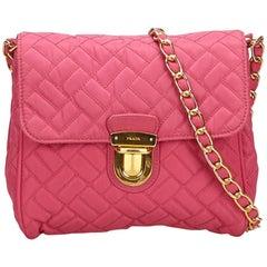 Prada Pink Quilted Nylon Chain Shoulder Bag