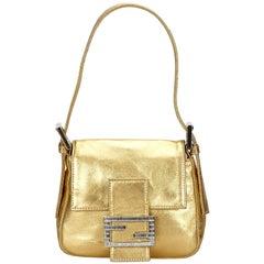 Fendi Gold Metallic Leather Baguette Bag