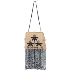 Fendi Beige x Black Beaded Fringed Shoulder Bag