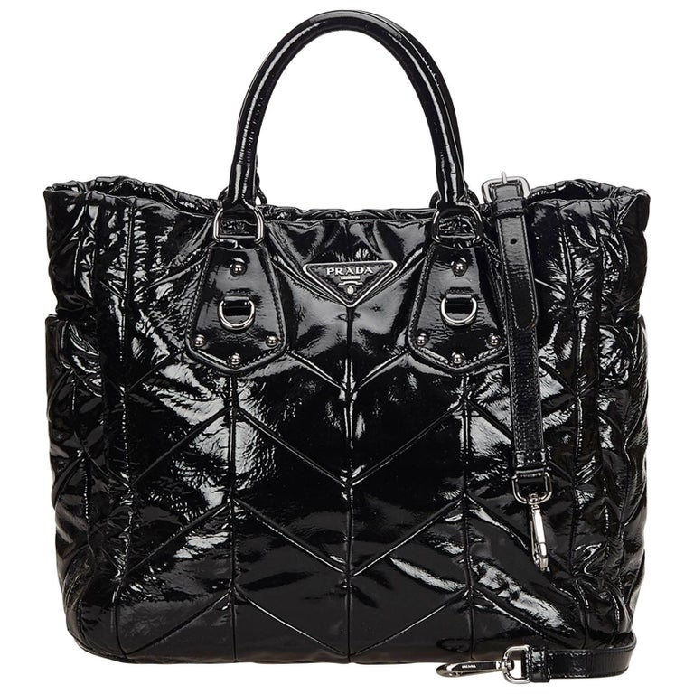 3dca12299b0 Prada Black Patent Leather Tote Bag