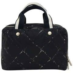 Chanel Travel Line Black and White Nylon Waterproof Hand Bag
