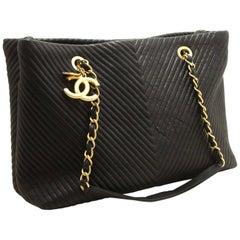 Chanel Chevron V-Stitch Chain Black Large Quilted Shoulder Bag