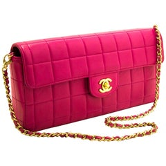 Chanel Chocolate Bar Hot Pink Chain Quilted Flap Lamb Shoulder Bag
