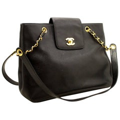 Chanel Caviar Jumbo Large Chain Black Leather Gold Shoulder Bag