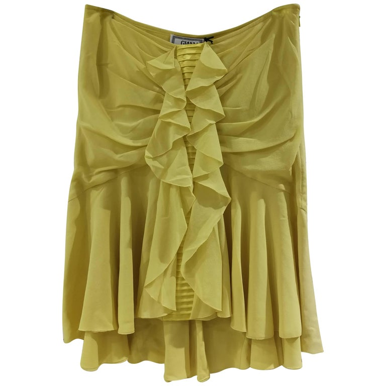 Gianni Versace Yellow Silk Skirt NWOT