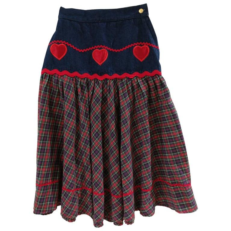 Moschino Denim Tartan Skirt