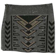 Black silver and Gold tone Studs Skirt