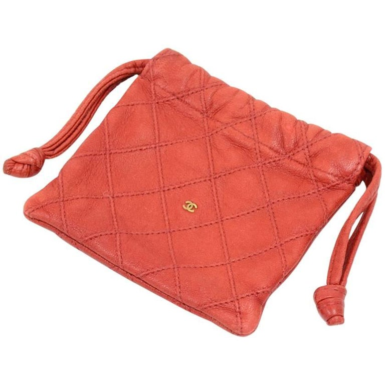 Chanel Vintage Red Quilted Leather Mini Pouch
