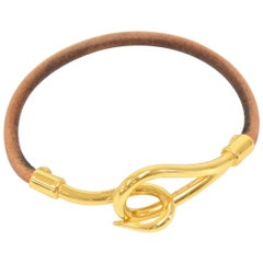 Hermes Brown Leather Gold Tone Jumbo Hook Bracelet