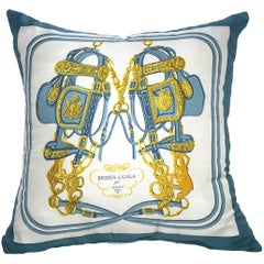 "Hermes Vintage Medium ""Brides de Gala"" Silk Scarf Pillow"