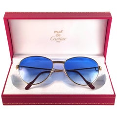Cartier France Louis Vintage Heavy Gold Plated Diamonds 55mm Sunglasses
