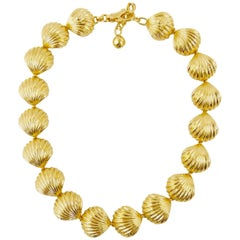 Gianni Versace 1990's gold tone shell necklace