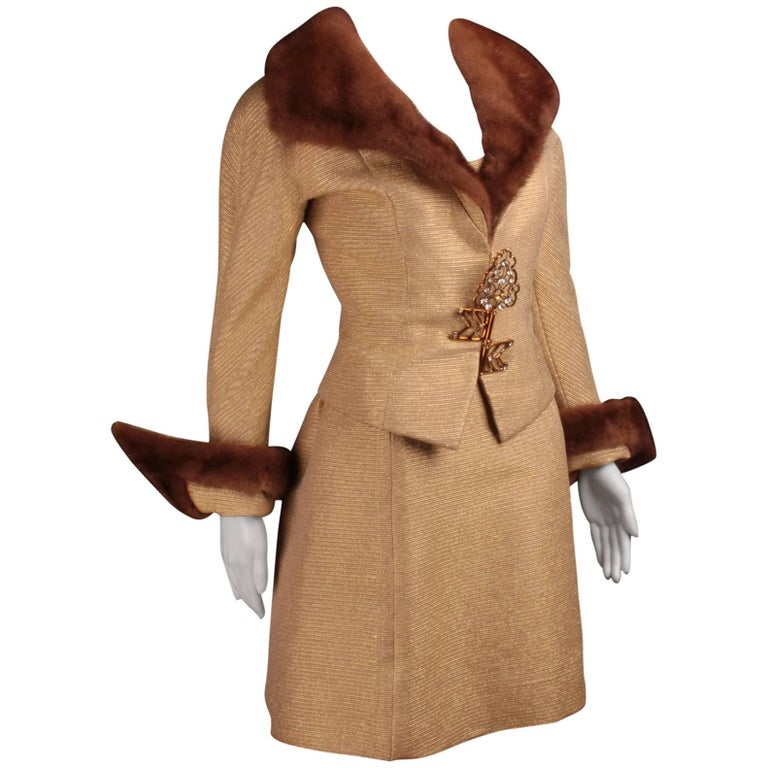 Fausto Sarli, gold lurex cannete' fabric, jacket and dress ensemble.
