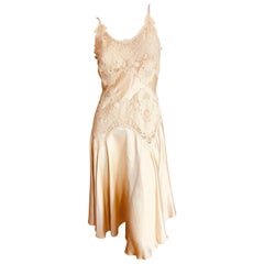 Alexander McQueen Romantic Butter Yellow Guipure Lace Dress 2004