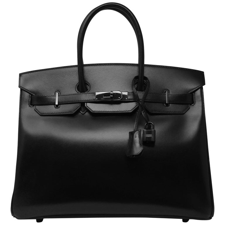 Hermes Birkin Bag 35cm So Black Box Calf BHW
