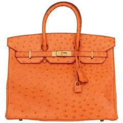 2004 Hermes Orange H Ostrich Leather Birkin 35cm