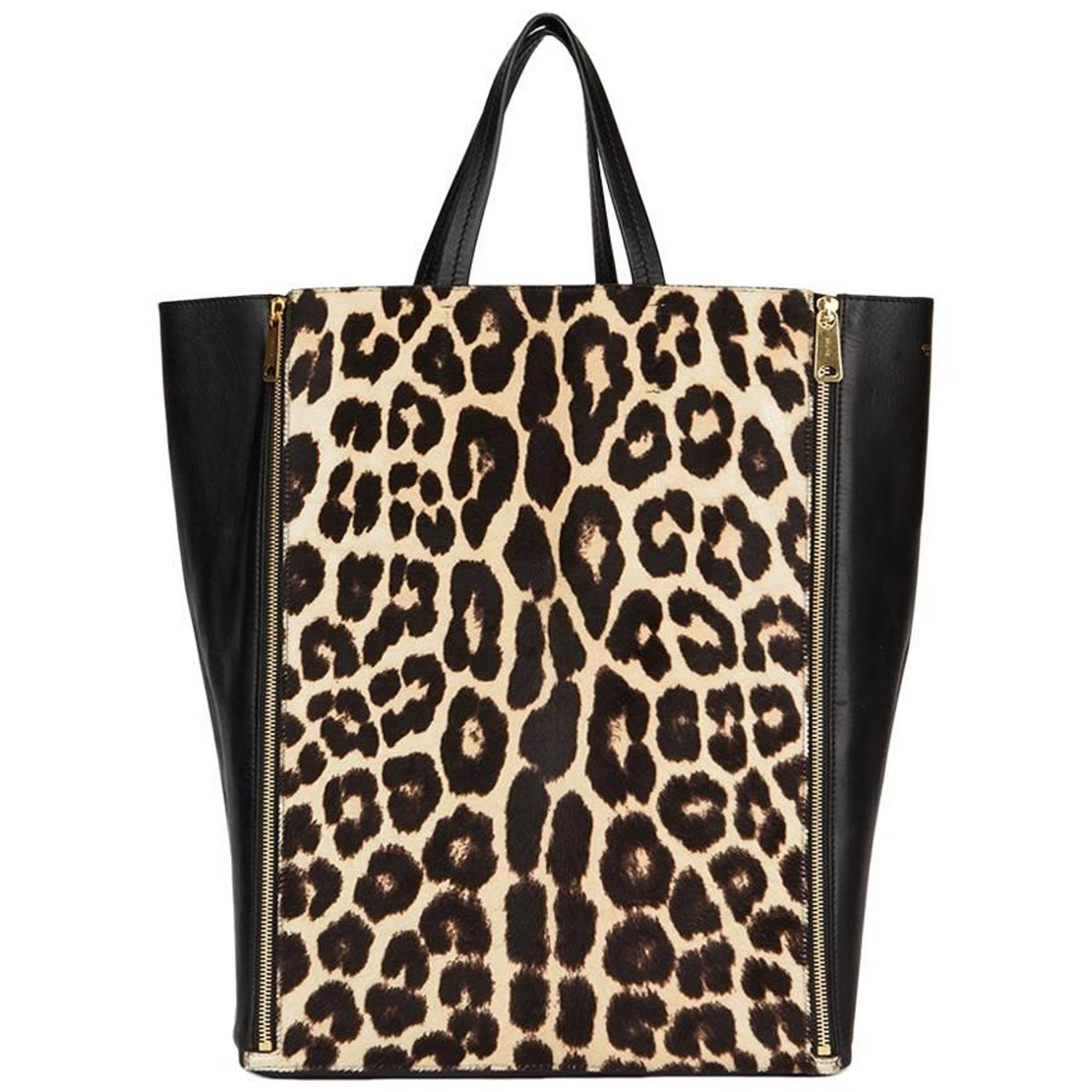 2013 Celine Black Lambskin and Leopard Pony Fur Vertical Gusset Cabas Tote  at 1stdibs 0f2cbe49a6cc6