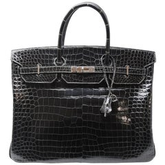 Hermes Birkin Bag 40cm Graphite Porosus Crocodile with Palladium Hardware