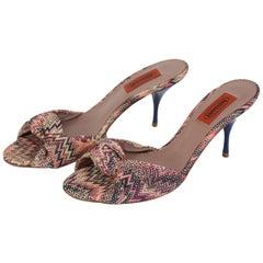 Missoni Vintage Canvas Leather Pink Shoes Sandals