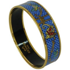 Hermes Vintage Gold Blue Enamel Metal Bracelet