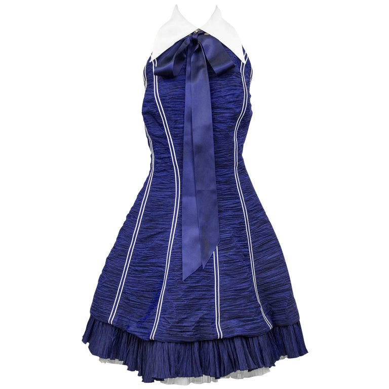 Jacques Fath Navy Blue Micro Pleated Cocktail Dress, 1980s