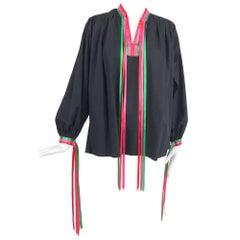 Porter House Regina Porter black cotton ribbon trim peasant blouse 1970s
