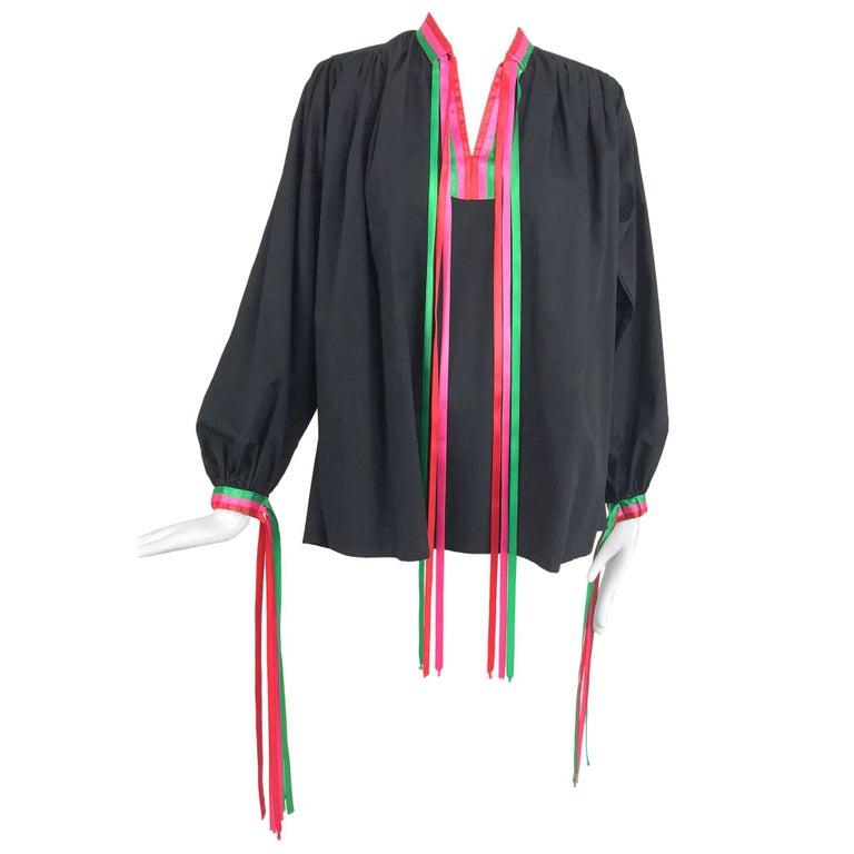 Porter House Regina Porter black cotton ribbon trim peasant blouse 1970s For Sale