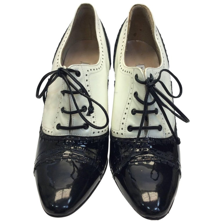 Manolo Blahnik Black and White Patent Oxford Heels
