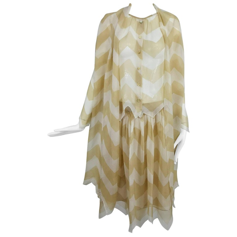 Chanel tan and cream zig zag silk chiffon blouse and skirt 2000A For Sale