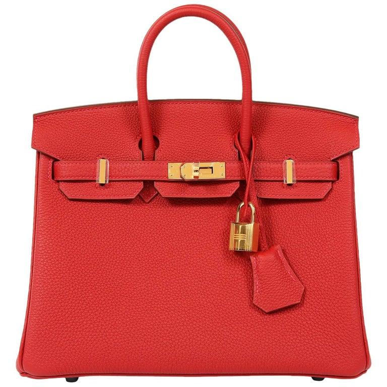 Hermès Rouge Garance Togo 25 cm Birkin Bag- Gold Hardware