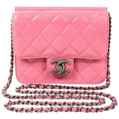 Chanel Pink Leather Mini Flap Crossbody Bag