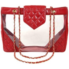 Chanel Clear PVC and Red Leather XL Vintage Tote Bag