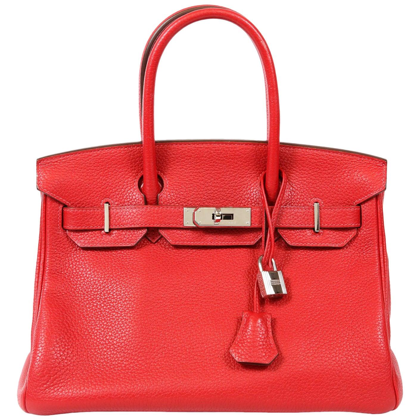 Hermès Rouge H Togo 30 cm Birkin Bag- Palladium Hardware