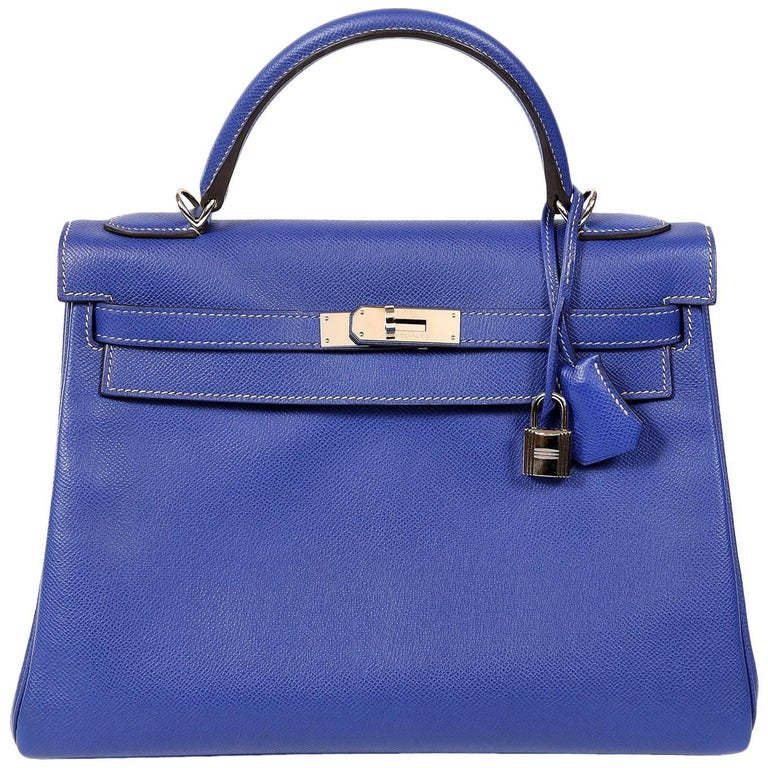 Hermès Bleu Electrique and Mykonos 32 cm Epsom Bi Color Kelly Bag
