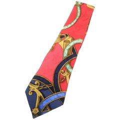 Hermes Paris Elegant Graphic Print Silk Necktie circa 1990s