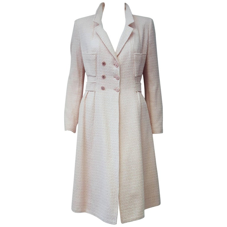Chanel Soft Pink Cotton & Wool Coat with Notch Collar