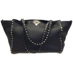 Valentino Black Leather Studded Shoulder Bag
