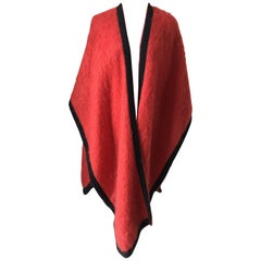 Vintage Yves Saint Laurent Red Wool Cape