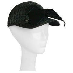 Eric Javits Black Sequin Cap with Velvet Bow, 1980s