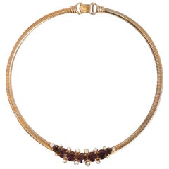 1970s Coro Gold-tone Choker Necklace w/ Purple Stones