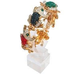 1960s Multicolor Rhinestone Frog Bracelet