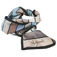 1960s Schiaparelli Grey & Blue Geometric Scarf
